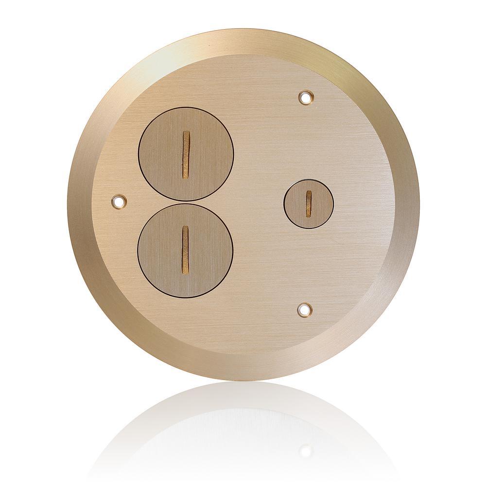 Concrete Floor Box Brass Cover Plate, 2 Duplex Screw Caps and 1 Data Cap