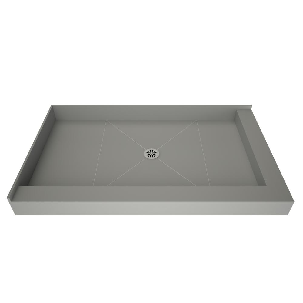 Tile Redi Redi Base 48 in. x 72 in. Double Threshold Shower Base with Center Drain in Gray