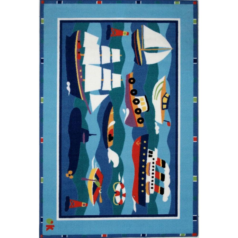 LA Rug Olive Kids Boats and Buoys Multi Colored 19 in. x 29 in. Accent Rug