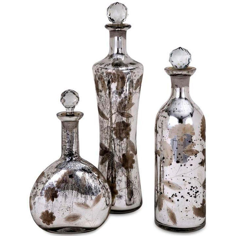 Home Decorators Collection Madison Etched Mercury Silver Glass-Lidded Bottles (Set of 3)