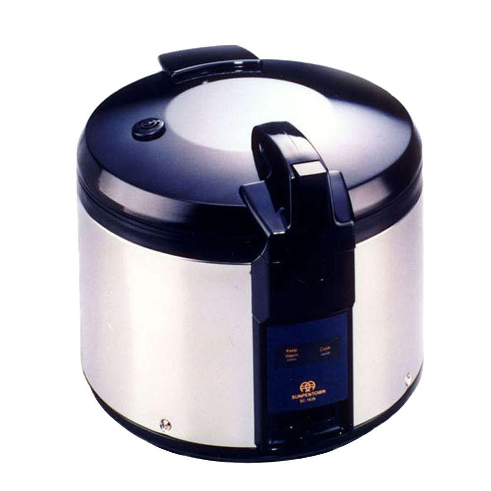 26-Cup Rice Cooker, Stainless SPT 26 cups rice cooker has super large capacity which is ideal for restaurants use. NSF certified for commercial usage. Features auto-warm for up to 12 hours and heavy duty stainless steel body for extra durability.