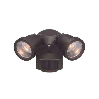 Area & Security 2-Light Distressed Bronze Outdoor Halogen Security Light with Motion Detectors