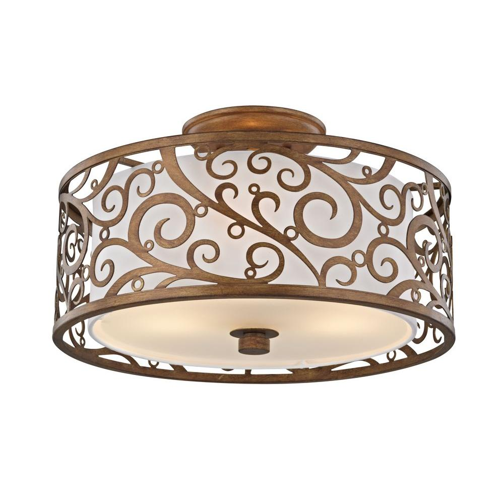 Fifth and main lighting 3 light burnished gold semi flush mount fifth and main lighting 3 light burnished gold semi flush mount with light beige aloadofball Images