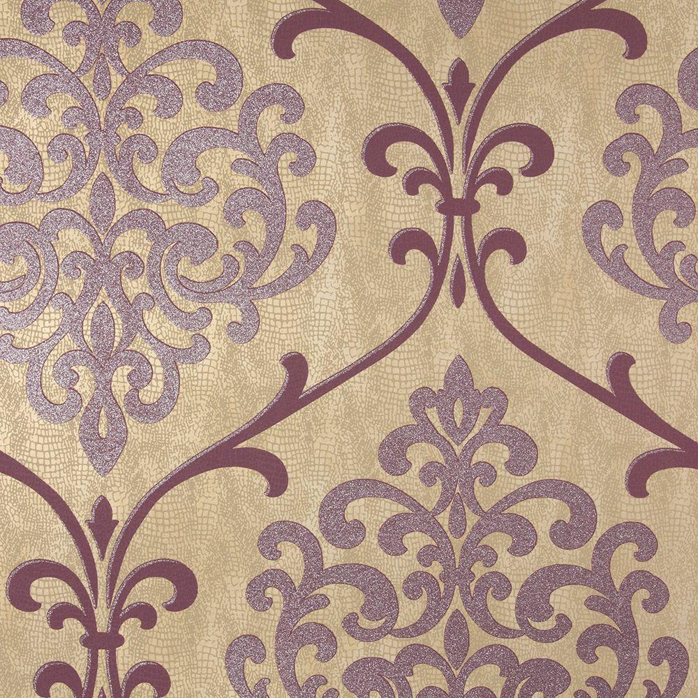 kenneth james ambrosia mauve glitter damask wallpaper - Contemporary Damask Wallpaper