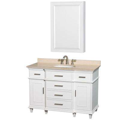 Berkeley 48 in. Vanity in White with Marble Vanity Top in Ivory, Undermount Round Sink and Medicine Cabinet
