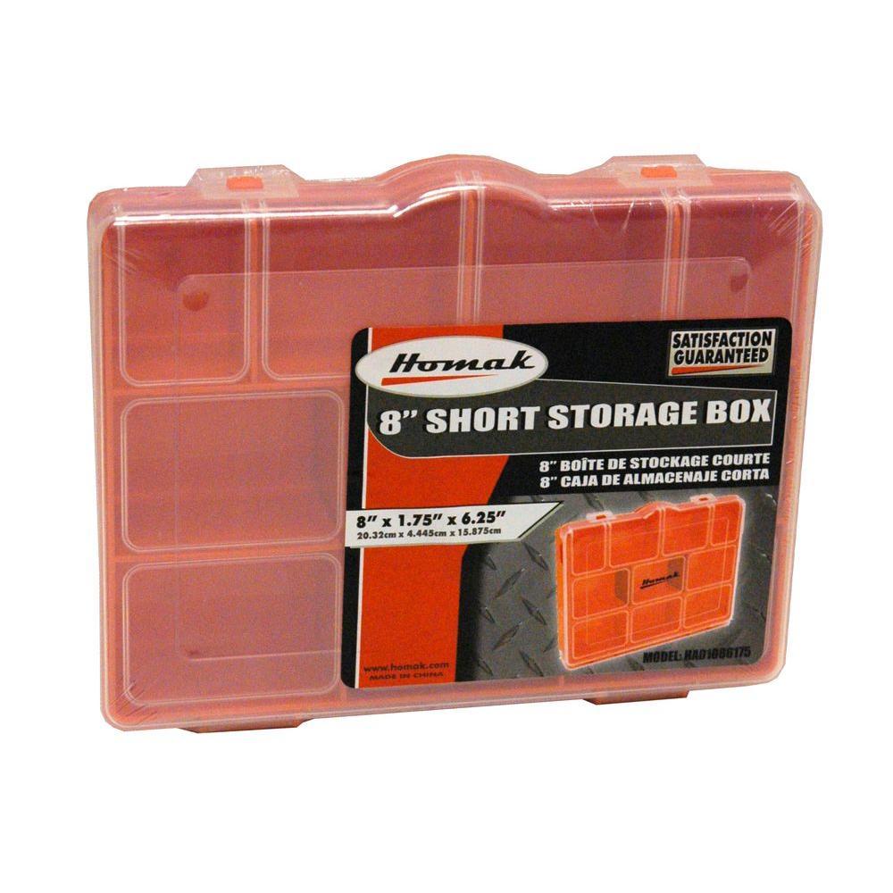 7-Compartment Non Stackable Storage Box Orange Small Parts Organizer