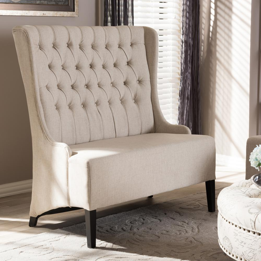 Baxton studio vincent traditional beige fabric upholstered for Traditional sofas and loveseats