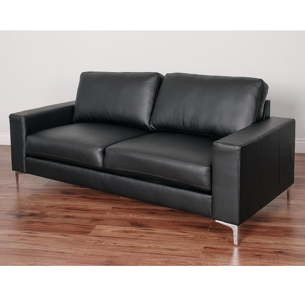Corliving Cory Contemporary Black Bonded Leather Sofa