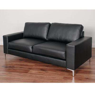 Cory Contemporary Black Bonded Leather Sofa