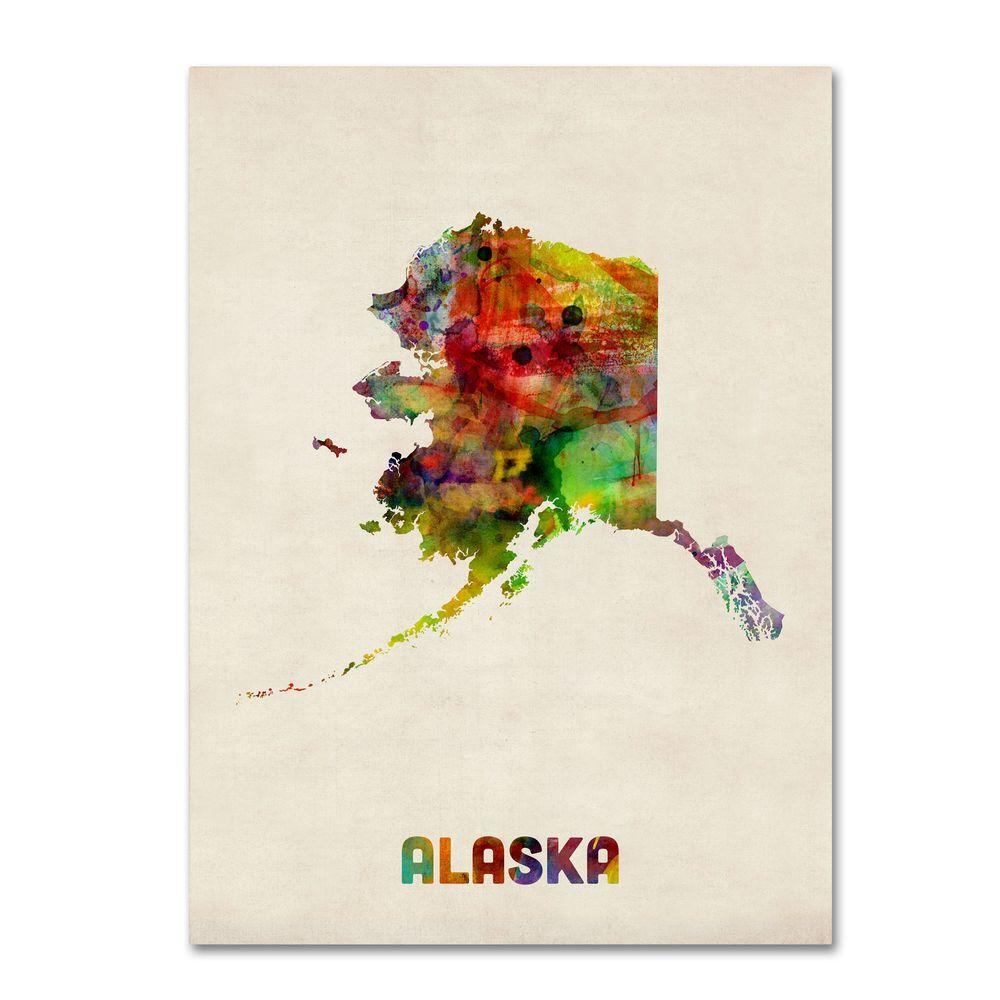 24 in. x 18 in. Alaska Map Canvas Art