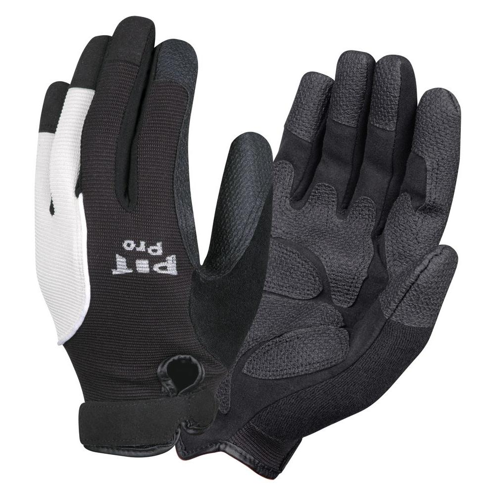 PIT PRO Mechanics Style Large Work Glove Black Synthetic Leather Palm