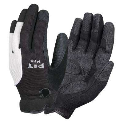 PIT PRO Mechanics Style Large Work Glove Black Synthetic Leather Palm Reinforced Palm and Fingertips Spandex Back