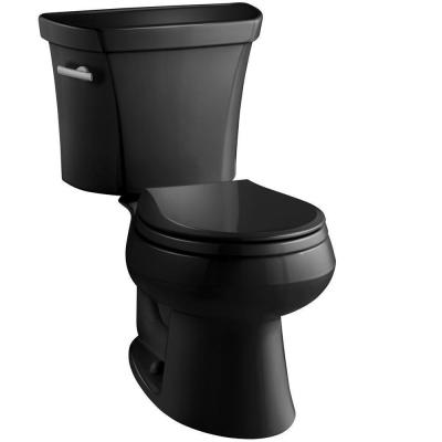 Wellworth 2-piece 1.28 GPF Single Flush Round Toilet in Black Black