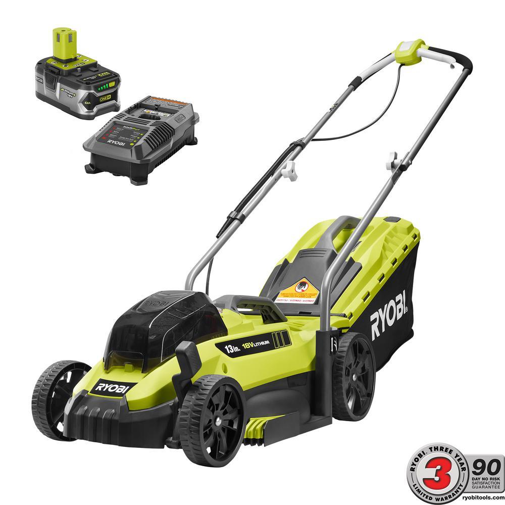 Ryobi P1140 18-Volt Lithium-Ion Cordless Battery Behind Push Lawn Mower