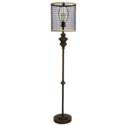64 in. Black Metal Floor Lamp with Black Metal Shade