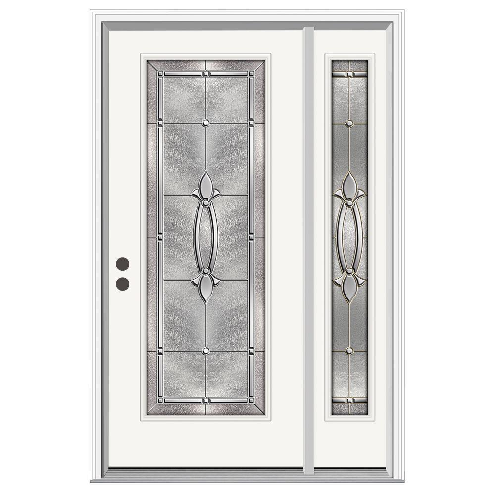 Jeld wen 50 in x 80 in full lite blakely primed steel for Jeld wen front entry doors