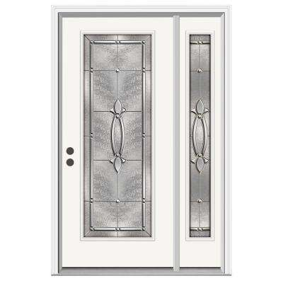 52 in. x 80 in. Full Lite Blakely Primed Steel Prehung Right-Hand Inswing Front Door with Right-Hand Sidelite
