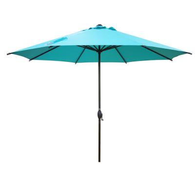11 ft. Market Patio Umbrella with Push Tilt and Crank in Turquoise