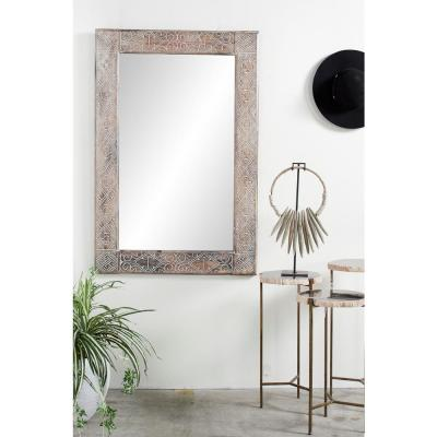 Litton Lane Large Rectangle Whitewashed Brown Contemporary Mirror (47.5 in. H x 31.5 in. W)