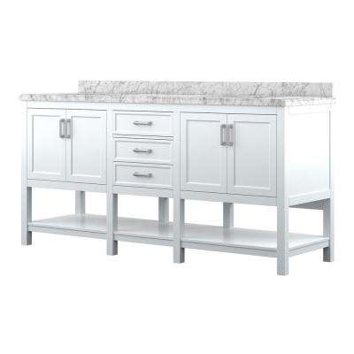 Everett 72 in. W x 22 in. D Vanity Cabinet in White with Carrara Marble Vanity Top in White with White Basins