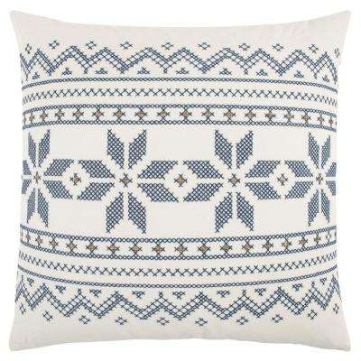 Ivory and Blue Cotton 20 in. X 20 in. Decorative Filled Throw Pillow
