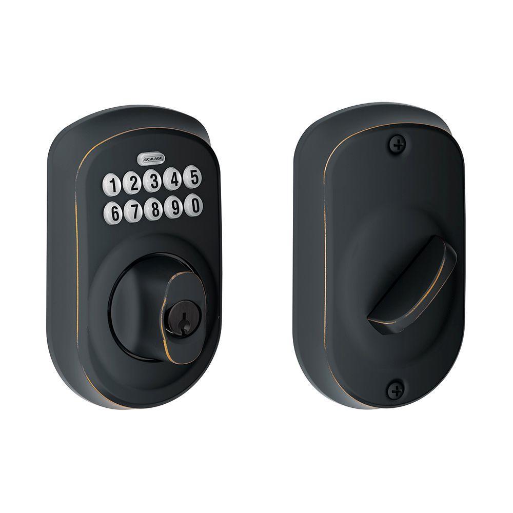 Plymouth Aged Bronze Keypad Electronic Door Lock Deadbolt