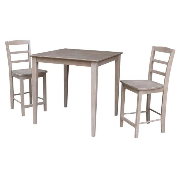 3-Piece Set Taupe Gray 36 in. Square Counter height Table and 2-Madrid Armless Stools