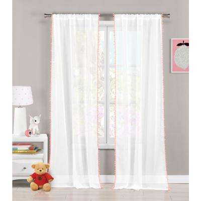 Aveline 38 in. x 84 in. L Polyester Pompom Curtain Panel in Pink (2-Pack)