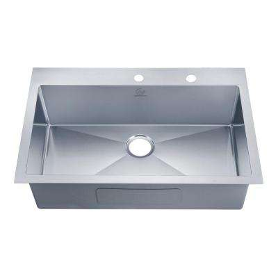 NationalWare Drop-in Stainless Steel 33 in. 2-Hole Single Bowl Kitchen Sink in Stainless Steel