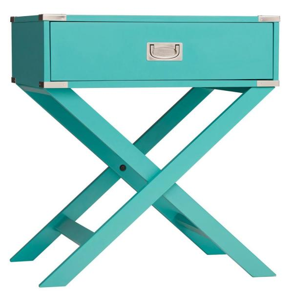 Wenderson 1-Drawer Marine Green Nightstand