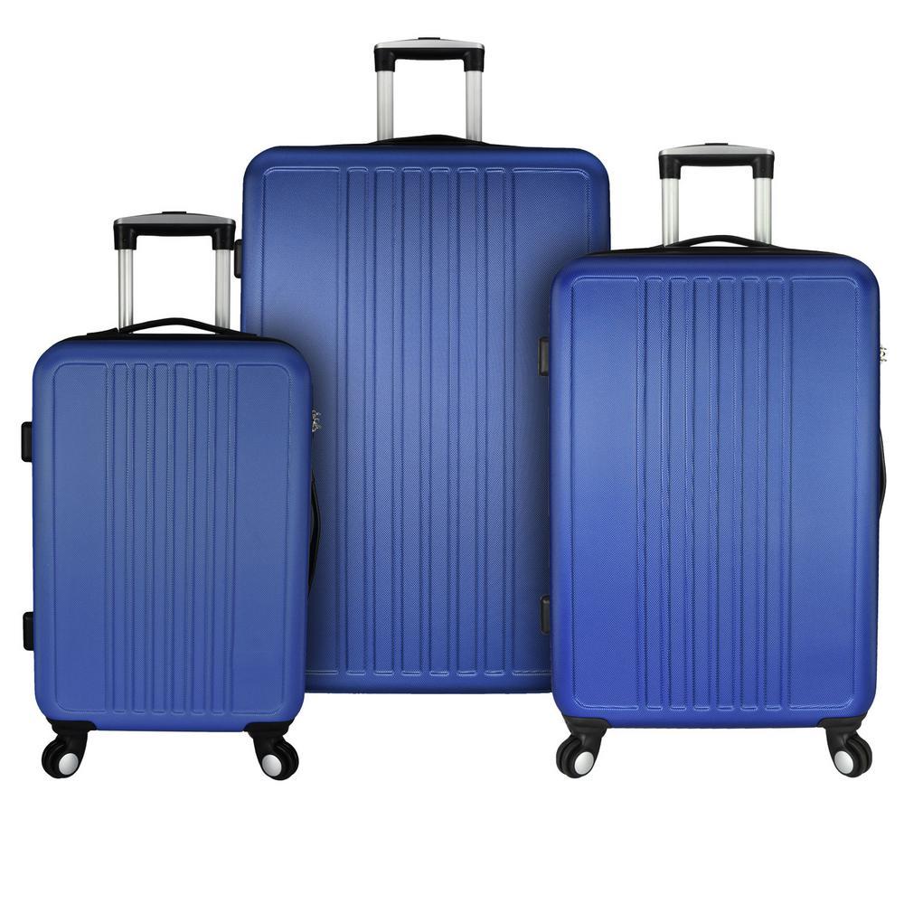 Versatile 3-Piece Hardside Spinner Luggage Set, Blue