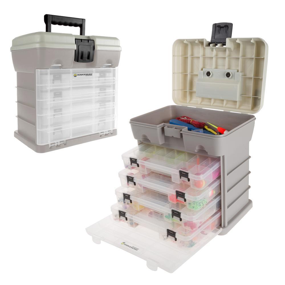4-Drawer Gray Camping and Fishing Storage Tool Box