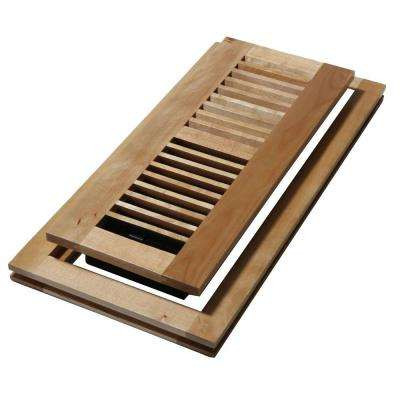 4 in. x 12 in. Wood Natural Maple Flush Mount Floor Register