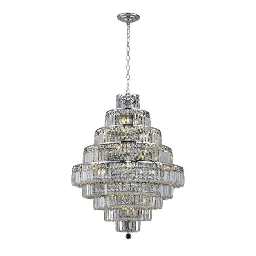 Elegant Lighting 20-Light Chrome Chandelier with Clear Crystal