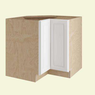 Hallmark Assembled 36 x 34.5 x 24 in. Base Easy Reach Lazy Susan Kitchen Cabinet Left Hand in Arctic White
