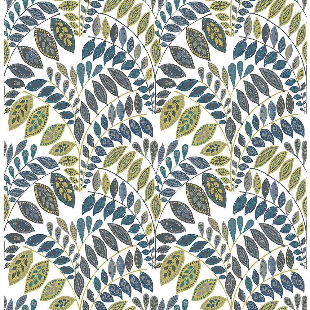 A-Street 56.4 sq. ft. Fiddlehead Green Botanical Wallpaper