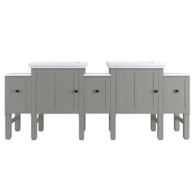 Chambly 84 in. W Vanity in Mohair Grey with Ceramic Vanity Top in White with White Basin