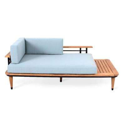 Mosko Teak Wood Outdoor Daybed with Teal Cushions