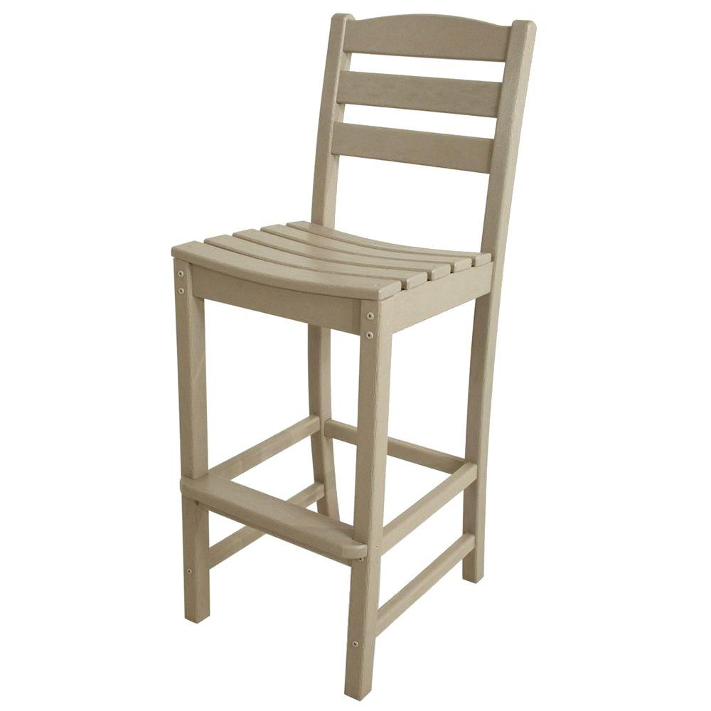 Polywood La Casa Cafe Sand Plastic Outdoor Patio Bar Side Chair