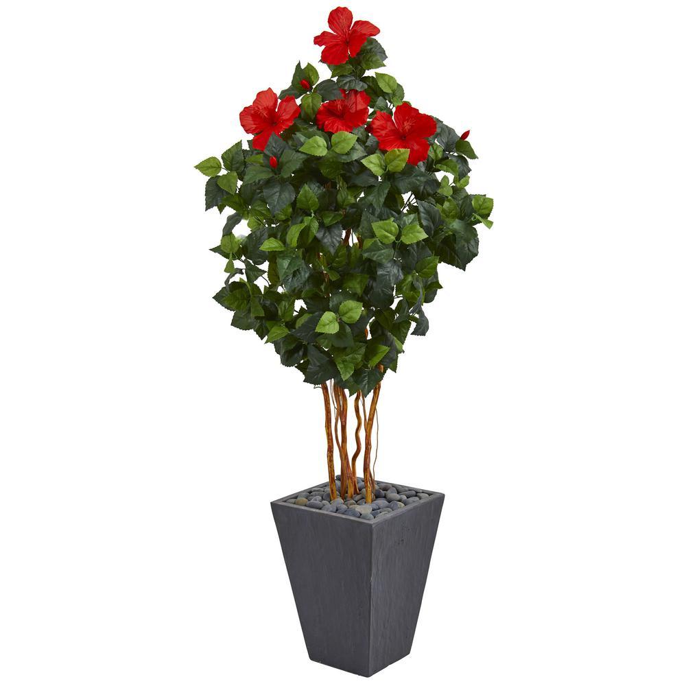 5 ft. High Indoor Hibiscus Artificial Tree in Slate Planter