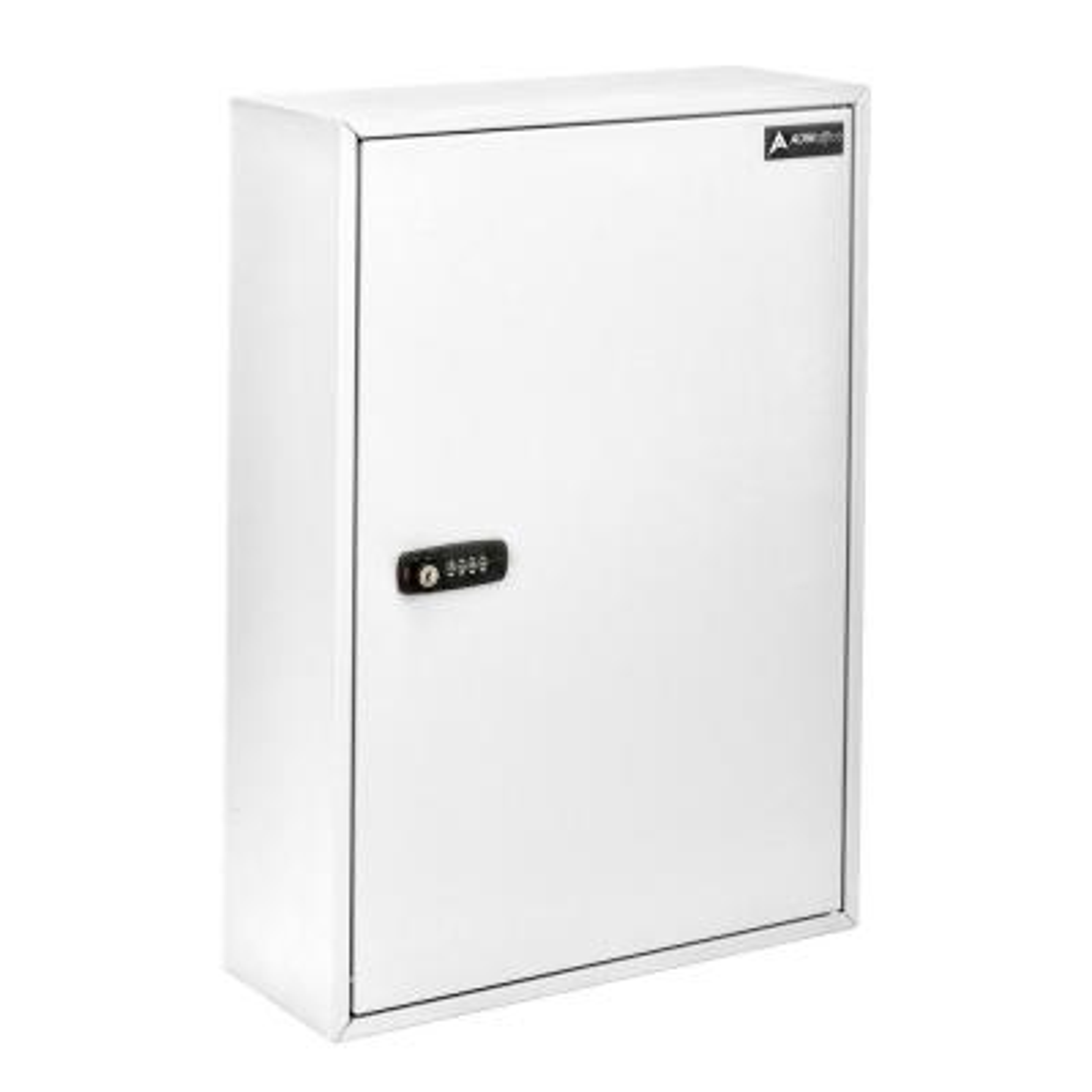 200-Key Steel Storage Key Lock Box with Combination and Key Lock, White