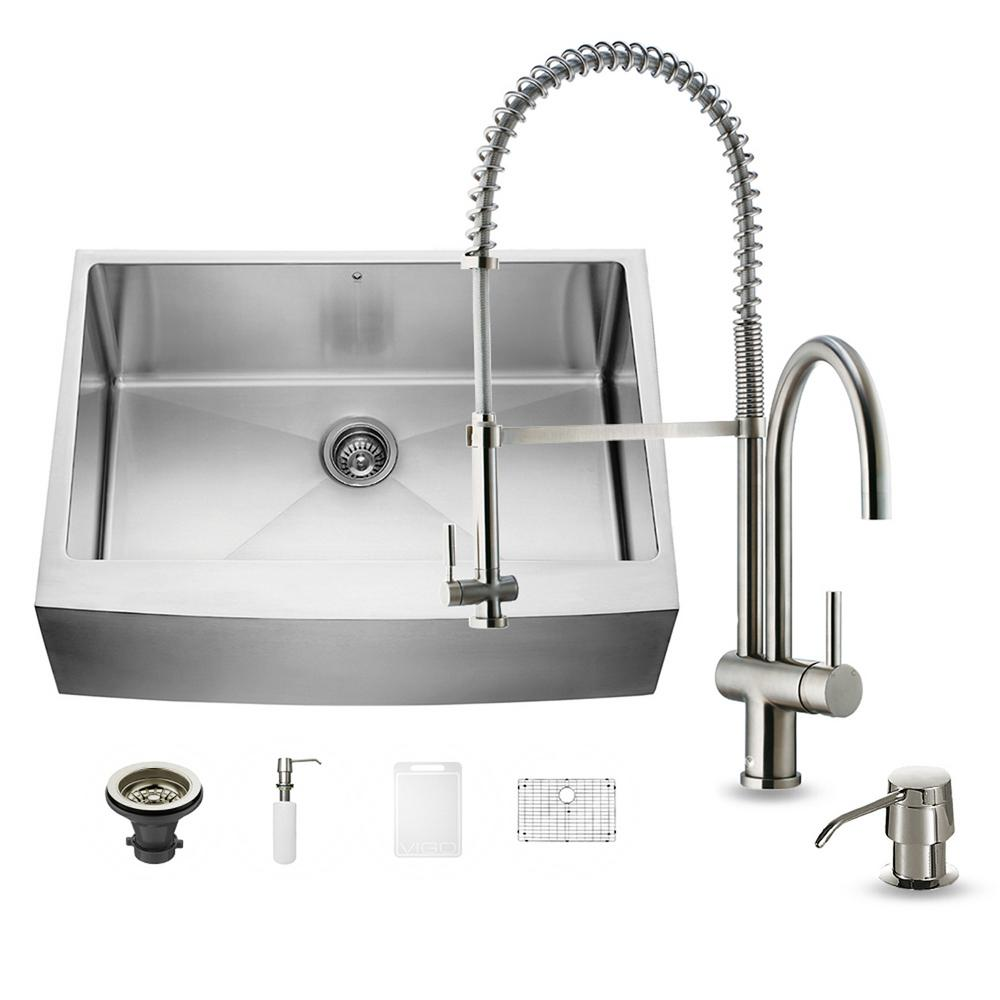 VIGO All-in-One Farmhouse Apron Front Stainless Steel 30 in. Single Basin Kitchen Sink in Stainless Steel