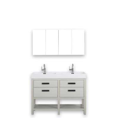 47.2 in. W x 32.3 in. H Bath Vanity in Gray with Resin Vanity Top in White with White Basin and Mirror