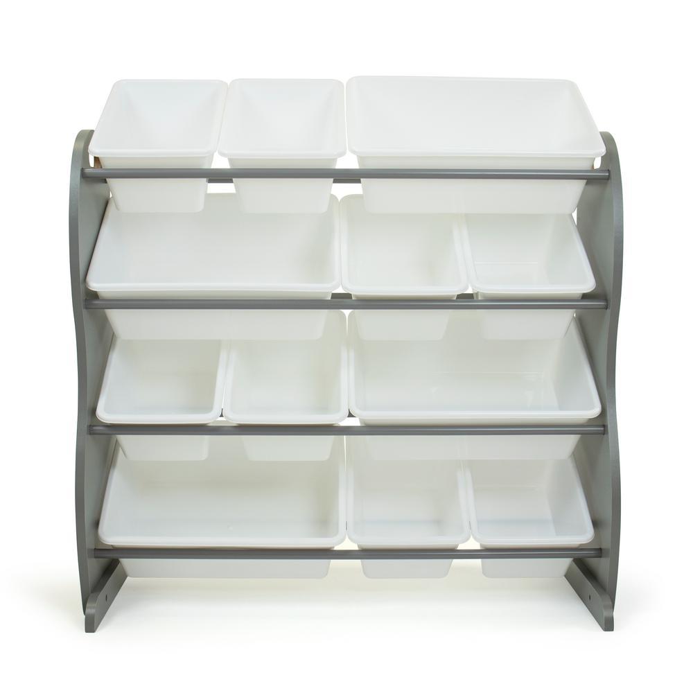 Inspire Grey Contour Toy Organizer with 12 Storage Bins, 31 in. H x 34 in. W x 16 in. D