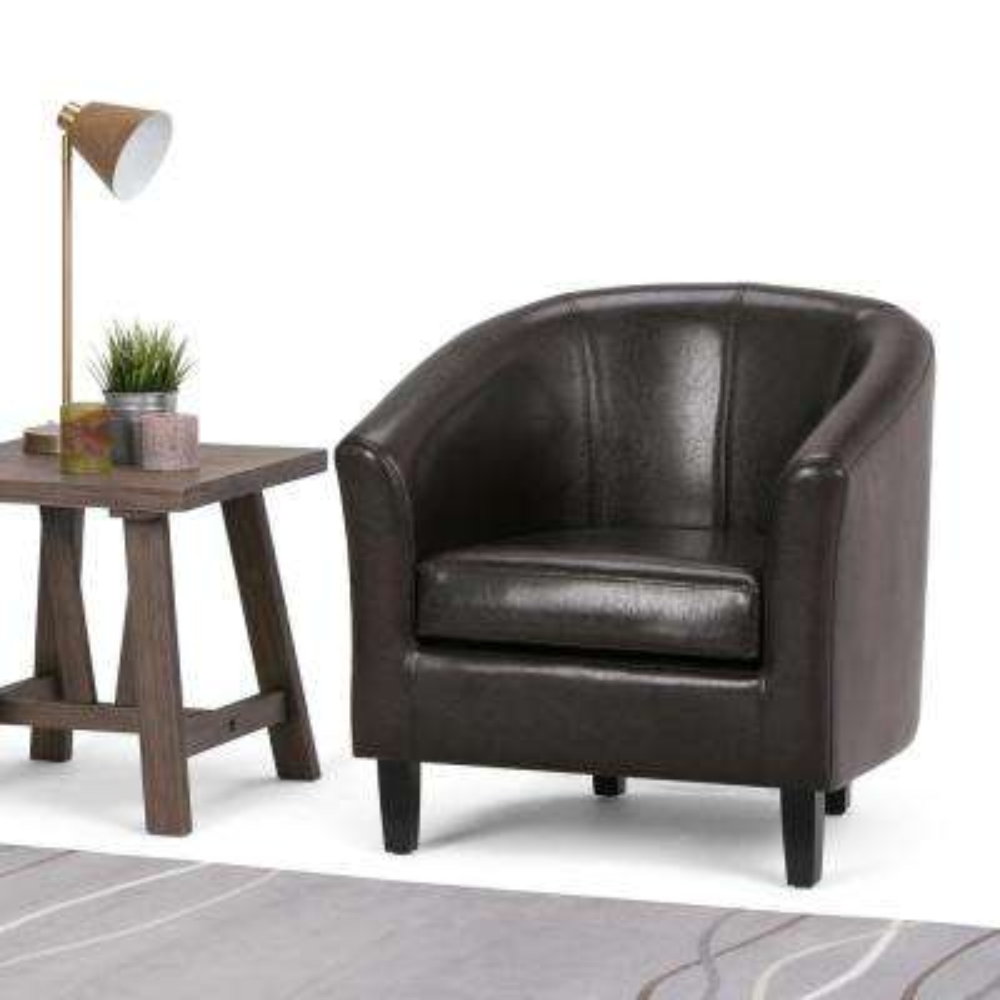 Austin Dark Brown Faux Leather Arm Chair