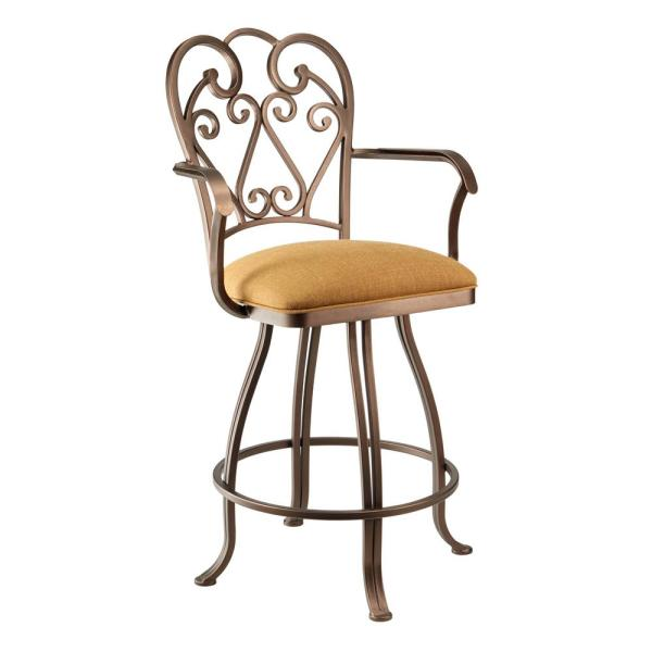 Sicilia 30 in. Echo Teak Swivel Barstool