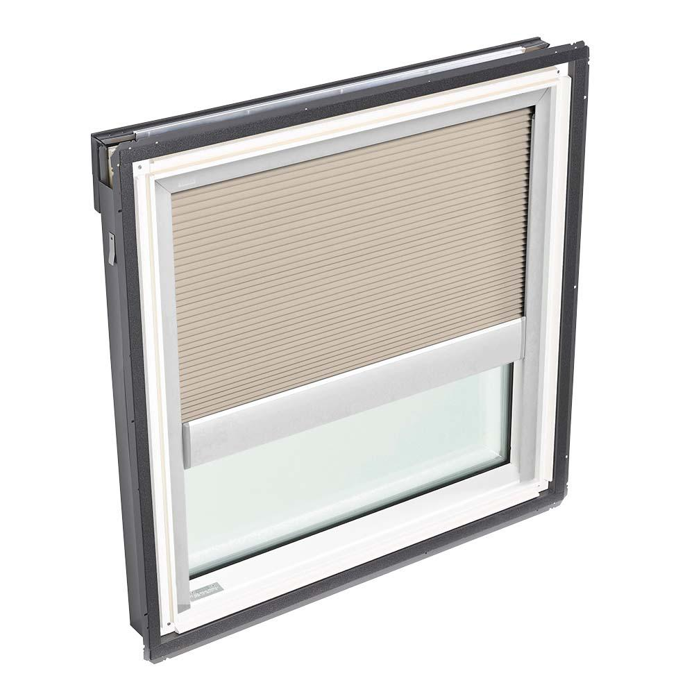 VELUX 44-1/4 in. x 45-3/4 in. Fixed Deck-Mount Skylight with Laminated Low-E3 Glass, Classic Sand Manual Light Filtering Blind