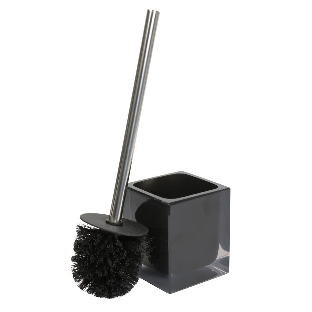 Infused Cube Design Polypropylene Toilet Brush Set in Black