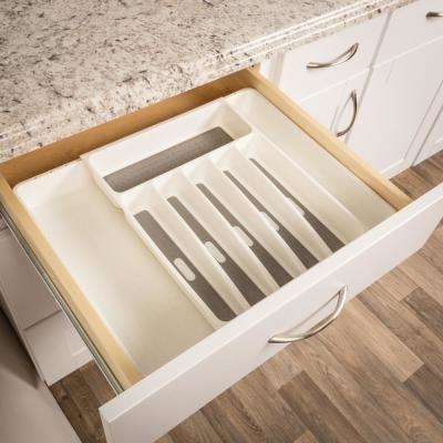 Expandable White Plastic Utility Drawer Organizer