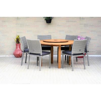 Alford 7-Piece Wood Round Outdoor Dining Set with Gray Cushions